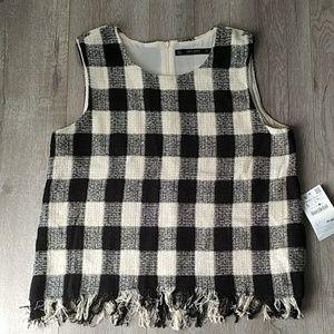 Zara Tweed Fringe Plaid Tank